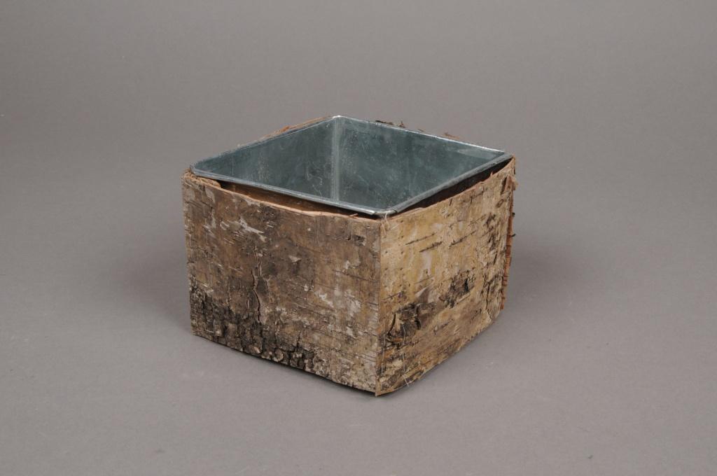 A109DZ Cache-pot en zinc avec écorce 9cm x 9cm H8.5cm