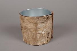 A122DZ Cache-pot en zinc avec écorce D14.5cm H14.5cm