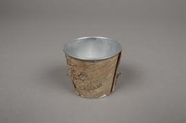 A135DZ Cache-pot en zinc avec écorce D6.5cm H5.5cm