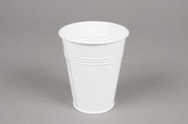 MU15KM Cache-pot en zinc blanc D8.5cm H10cm