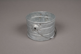 A038Q4 Cache-pot en zinc cylindrique avec anse D9.2cm H6.3cm