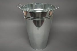 Cache-pot en zinc naturel D26 H35cm