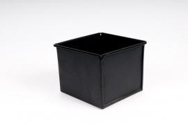 Cache-pot en zinc noir 10x10 H8cm