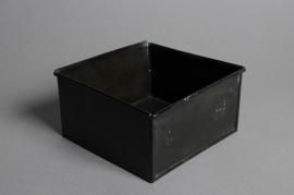 A049GF Cache-pot en zinc noir 15 x 15cm H8cm