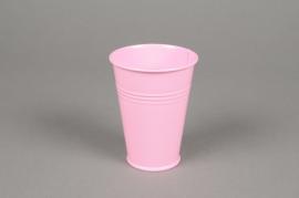 MU12KM Cache-pot en zinc rose D7cm H9cm
