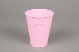 MU18KM Cache-pot en zinc rose D8.5cm H10cm