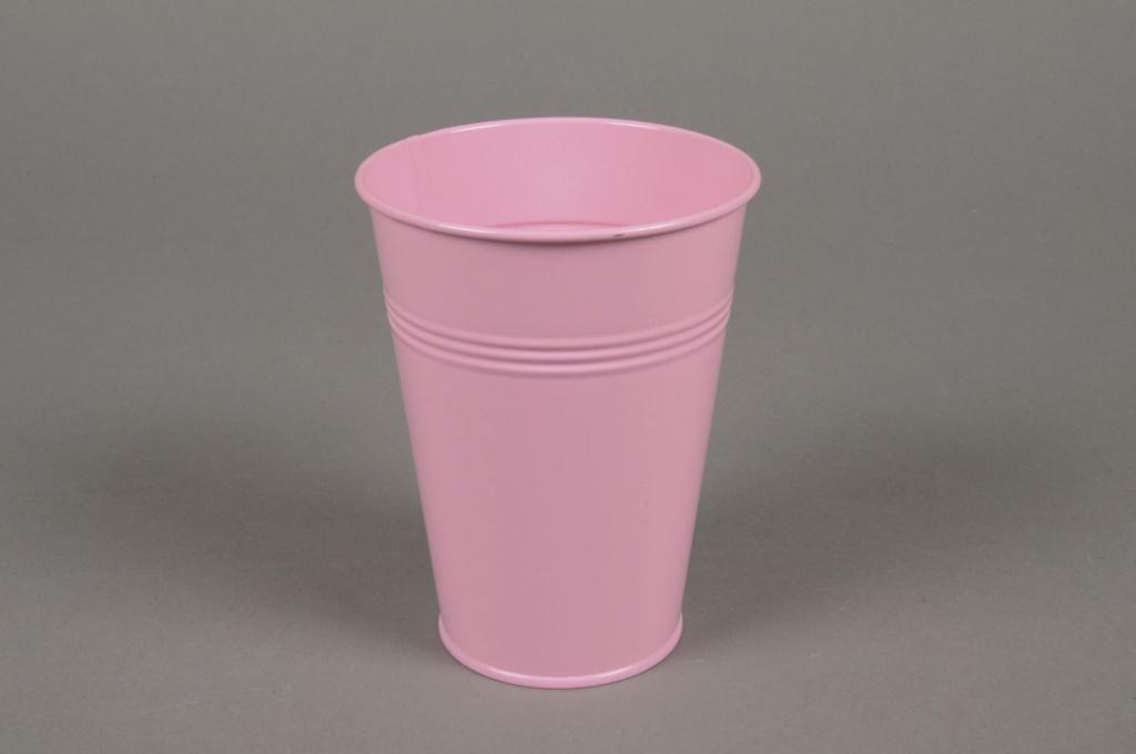 A345KM Cache-pot en zinc rose pale D10cm H12.5cm