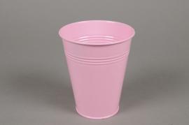 A339KM Cache-pot en zinc rose pâle D13cm H15cm