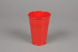 MU14KM Cache-pot en zinc rouge D7cm H9cm