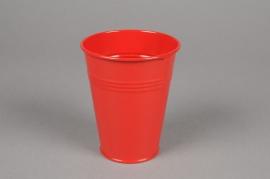 MU20KM Cache-pot en zinc rouge D8.5cm H10cm