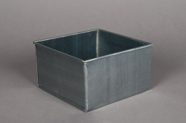 Cache-pot en zinc titanium 15x15 H8cm