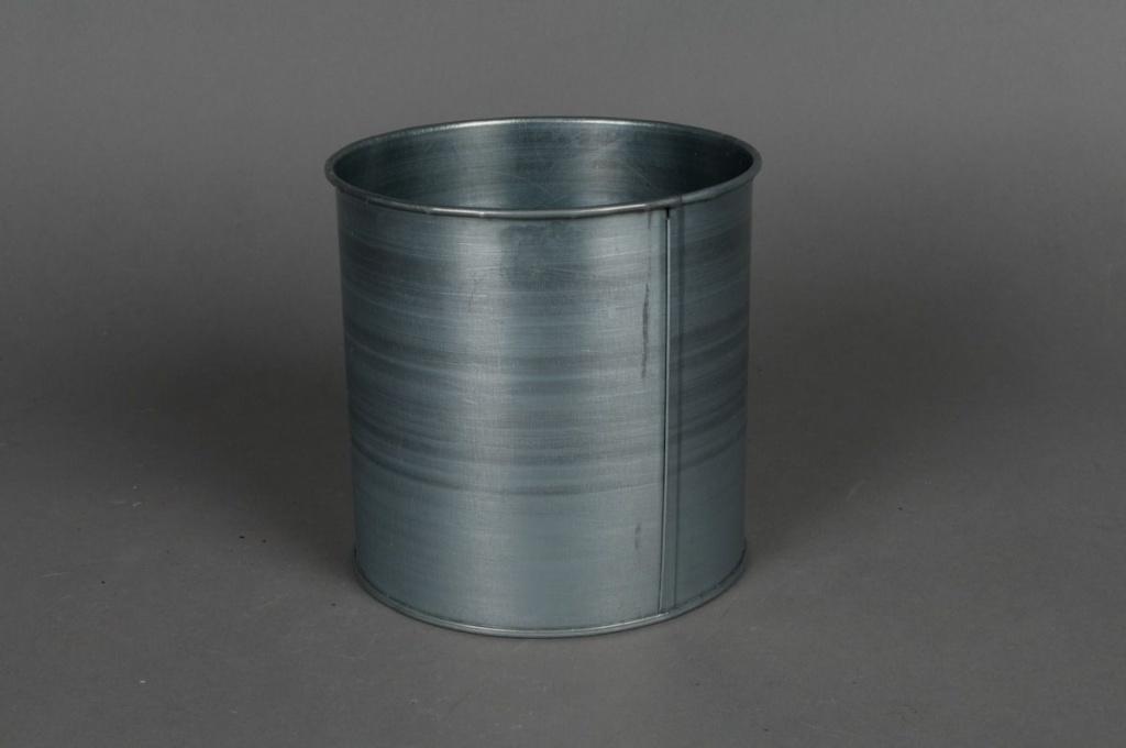 Cache-pot en zinc titanium D13cm H13cm