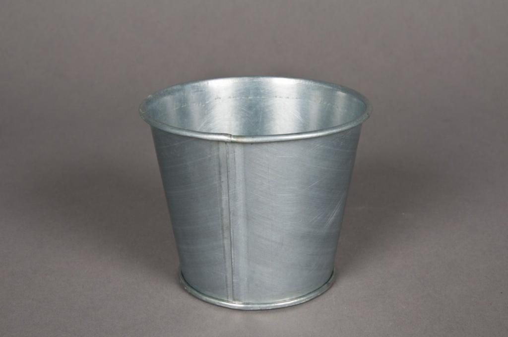 Cache-pot en zinc titanium D9 H8cm