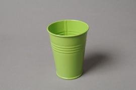 MU01KM Cache-pot en zinc vert D7cm H9cm