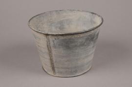 A051Q4 Cache-pot en zinc vieilli D15.5cm H10.5cm
