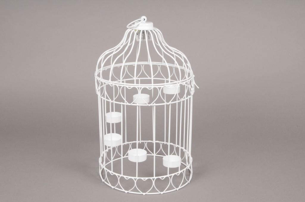 A093HH Cage à oiseau en métal blanc D22cm H39cm