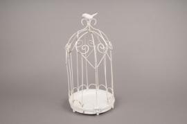 A567UO Cage en fer blanc D19cm H38.50cm