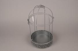 A035AY Cage en métal gris D20.5cm H37cm