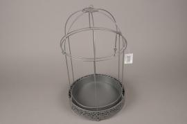 A034AY Cage en métal gris D25cm H43cm