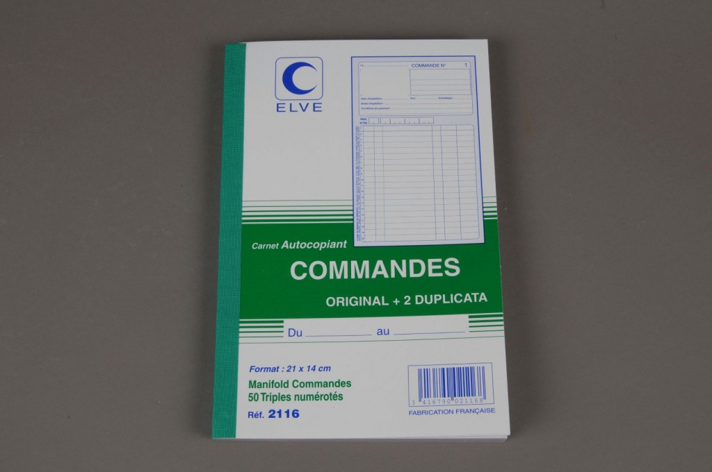 A011OI Carnet autocopiant de 50 commandes