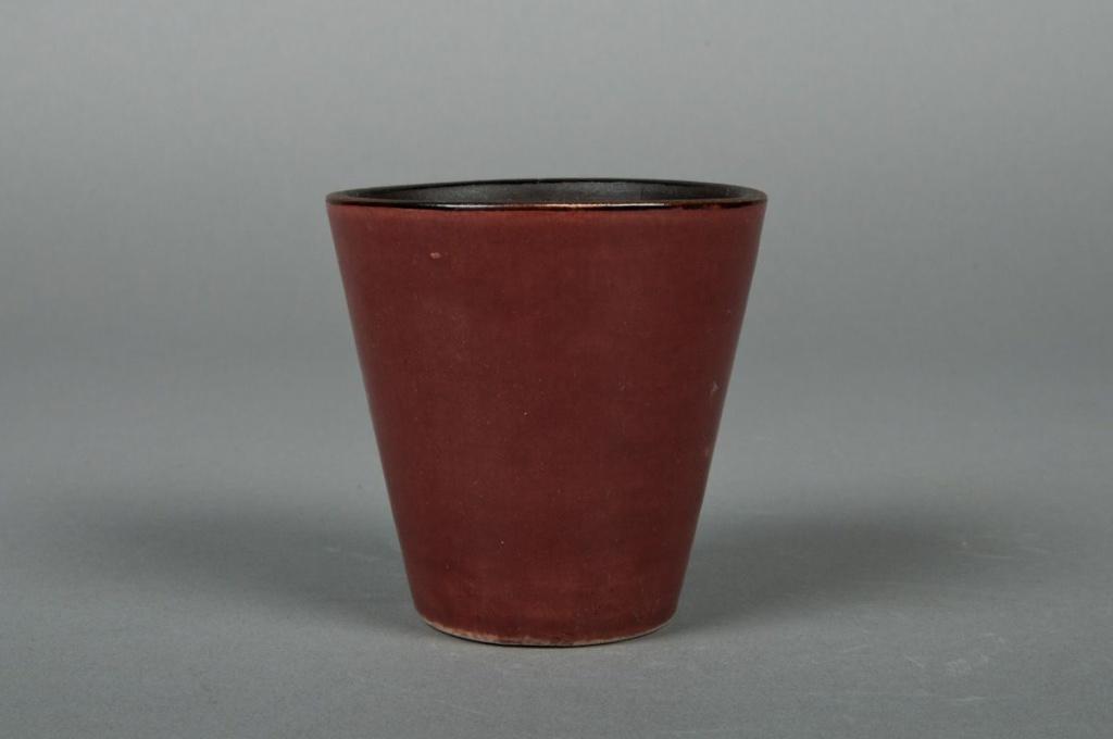 Ceramic pot chocolate brown D7 H8cm