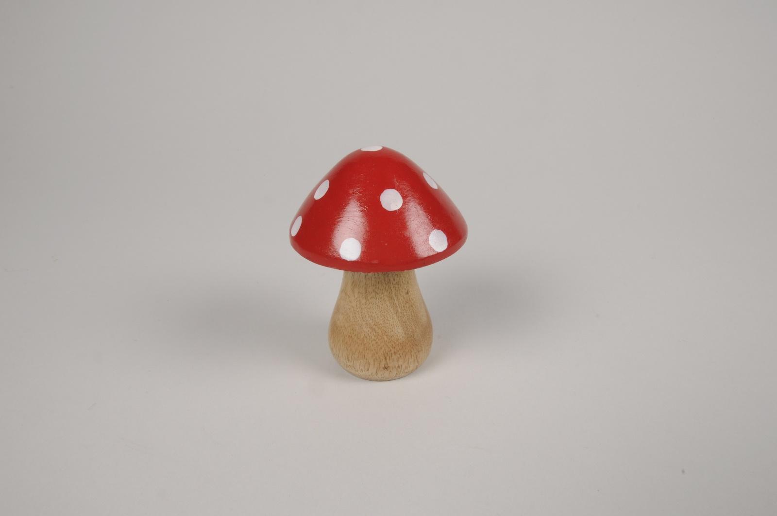 a123wg Champignon en bois de manguier rouge et blanc D7cm H10cm