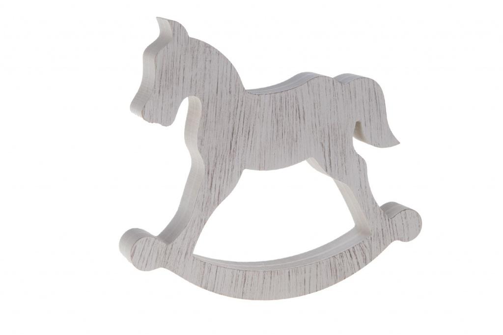 X025U7 Cheval à bascule en bois blanc L24cm H21cm