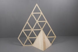 X015H0 Christmas tree diamond in natural wood H70cm
