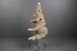 X001H0 Christmas tree spiral in natural wood H90cm
