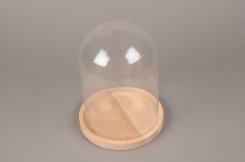 A139DQ Cloche en verre avec plateau bois D17cm H23cm