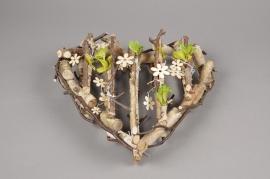 SV07DZ Coeur brindilles et fleurs à suspendre D36cm