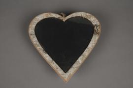 SV02O4 Coeur en écorce avec ardoise à suspendre D25cm