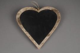 SV03O4 Coeur en écorce avec ardoise à suspendre D30cm