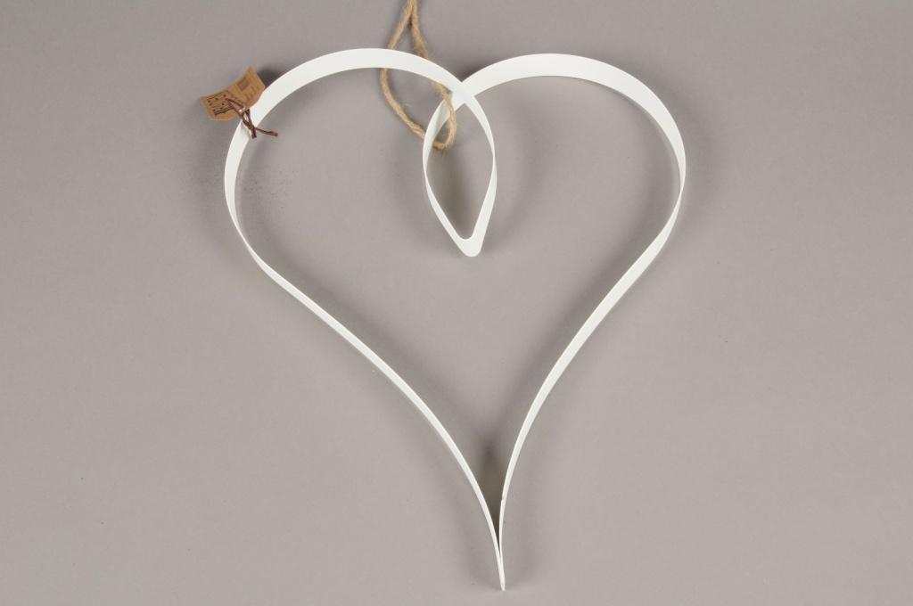 SV01AK Coeur en métal blanc D28cm