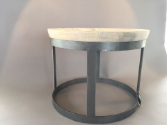 C103DQ Coffee table natural wood and grey steel D54cm H45cm
