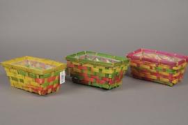 MU04VX Colorful bamboo basket 20cm x 12cm H9cm