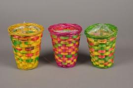 MU05VX Colorful bamboo basket D11cm H13.5cm