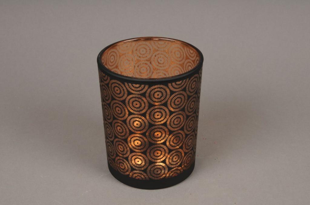 A006P5 Copper and black glass light holder D10cm H12.5cm