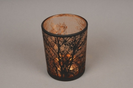 A030P5 Copper and black glass light holder D10cm H12.5cm