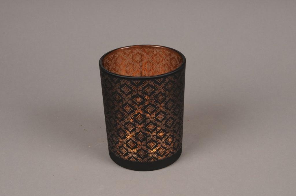 A018P5 Copper and black glass light holder D10cm H12.5cm
