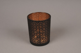 A018P5 Copper and black glass light holder D10cm H12.5cm