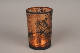 A031P5 Copper and black glass light holder D12cm H18cm
