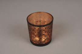 A004P5 Copper and black glass light holder D7.5cm H8cm
