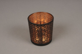 A016P5 Copper and black glass light holder D7.5cm H8cm