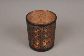 A005P5 Copper and black glass light holder D9cm H10cm