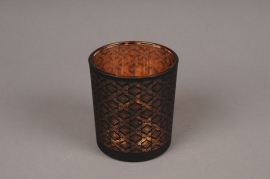 A017P5 Copper and black glass light holder D9cm H10cm