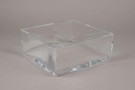 B488W3 Glass square bowl 25x25cm H10cm