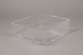 B454W3 Glass square bowl 25x25cm H8cm