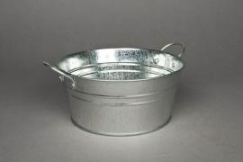 Bowl in natural bright zinc D20 H9 cm