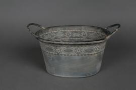 Oval zinc cup 28x21 H15cm